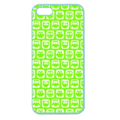 Lime Green And White Owl Pattern Apple Seamless iPhone 5 Case (Color)