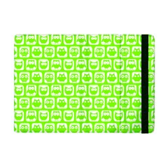 Lime Green And White Owl Pattern Apple iPad Mini Flip Case