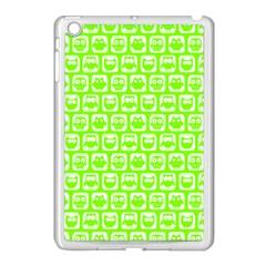 Lime Green And White Owl Pattern Apple iPad Mini Case (White)