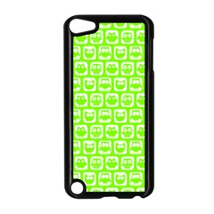 Lime Green And White Owl Pattern Apple iPod Touch 5 Case (Black)