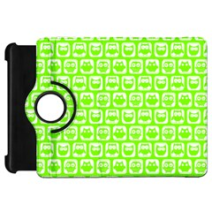Lime Green And White Owl Pattern Kindle Fire HD Flip 360 Case