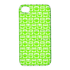 Lime Green And White Owl Pattern Apple Iphone 4/4s Hardshell Case With Stand