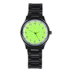 Lime Green And White Owl Pattern Stainless Steel Round Watches