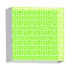 Lime Green And White Owl Pattern 5  x 5  Acrylic Photo Blocks