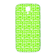 Lime Green And White Owl Pattern Samsung Galaxy S4 I9500/I9505  Hardshell Back Case