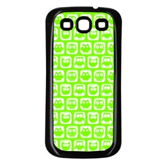 Lime Green And White Owl Pattern Samsung Galaxy S3 Back Case (Black)
