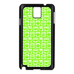 Lime Green And White Owl Pattern Samsung Galaxy Note 3 N9005 Case (Black)
