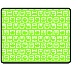 Lime Green And White Owl Pattern Double Sided Fleece Blanket (Medium)