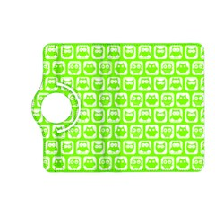 Lime Green And White Owl Pattern Kindle Fire HD (2013) Flip 360 Case