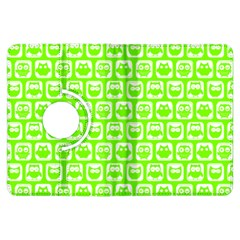 Lime Green And White Owl Pattern Kindle Fire HDX Flip 360 Case