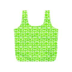 Lime Green And White Owl Pattern Full Print Recycle Bags (S)
