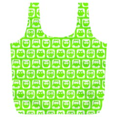 Lime Green And White Owl Pattern Full Print Recycle Bags (L)