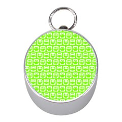 Lime Green And White Owl Pattern Mini Silver Compasses