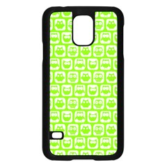 Lime Green And White Owl Pattern Samsung Galaxy S5 Case (Black)