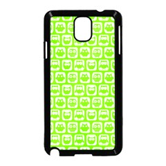 Lime Green And White Owl Pattern Samsung Galaxy Note 3 Neo Hardshell Case (Black)