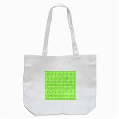 Lime Green And White Owl Pattern Tote Bag (White)