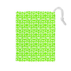 Lime Green And White Owl Pattern Drawstring Pouches (Large)