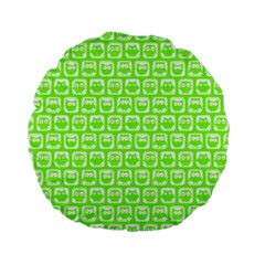 Lime Green And White Owl Pattern Standard 15  Premium Flano Round Cushions