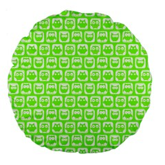 Lime Green And White Owl Pattern Large 18  Premium Flano Round Cushions