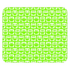 Lime Green And White Owl Pattern Double Sided Flano Blanket (small)