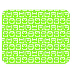 Lime Green And White Owl Pattern Double Sided Flano Blanket (Medium)