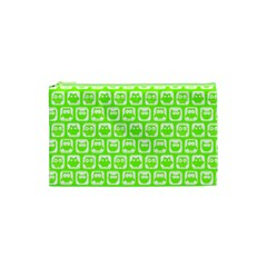 Lime Green And White Owl Pattern Cosmetic Bag (xs)