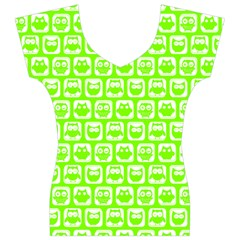 Lime Green And White Owl Pattern Women s V-Neck Cap Sleeve Top