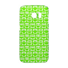 Lime Green And White Owl Pattern Galaxy S6 Edge