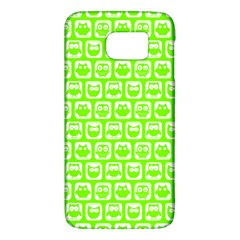 Lime Green And White Owl Pattern Galaxy S6