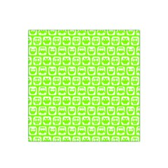 Lime Green And White Owl Pattern Satin Bandana Scarf