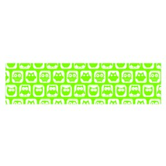 Lime Green And White Owl Pattern Satin Scarf (oblong)