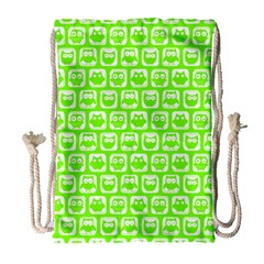 Lime Green And White Owl Pattern Drawstring Bag (Large)