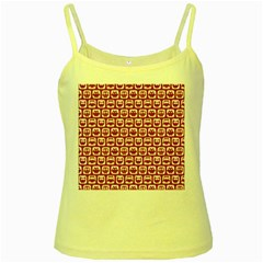 Red And White Owl Pattern Yellow Spaghetti Tanks