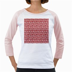 Red And White Owl Pattern Girly Raglans