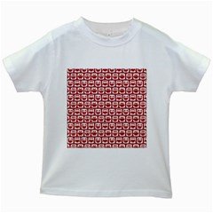 Red And White Owl Pattern Kids White T-Shirts
