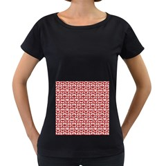 Red And White Owl Pattern Women s Loose Fit T Shirt (black)