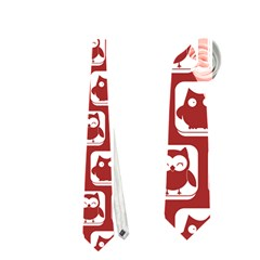 Red And White Owl Pattern Neckties (one Side)