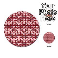 Red And White Owl Pattern Multi Purpose Cards (round)