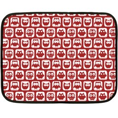 Red And White Owl Pattern Fleece Blanket (Mini)