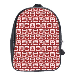 Red And White Owl Pattern School Bags(Large)