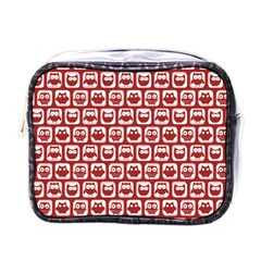 Red And White Owl Pattern Mini Toiletries Bags