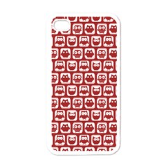 Red And White Owl Pattern Apple iPhone 4 Case (White)