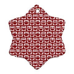 Red And White Owl Pattern Snowflake Ornament (2-Side)