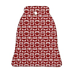 Red And White Owl Pattern Bell Ornament (2 Sides)