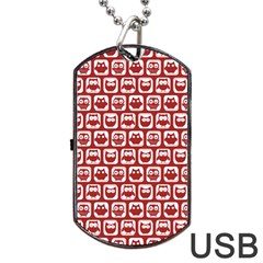 Red And White Owl Pattern Dog Tag USB Flash (One Side)