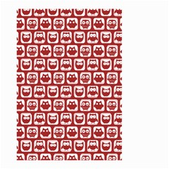 Red And White Owl Pattern Small Garden Flag (two Sides)