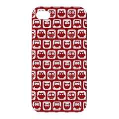 Red And White Owl Pattern Apple iPhone 4/4S Premium Hardshell Case