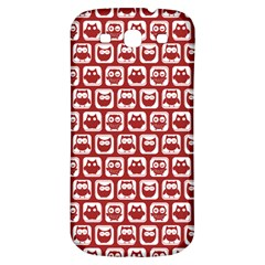 Red And White Owl Pattern Samsung Galaxy S3 S III Classic Hardshell Back Case
