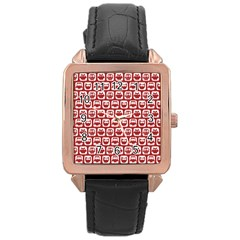 Red And White Owl Pattern Rose Gold Watches