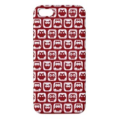 Red And White Owl Pattern Apple iPhone 5 Premium Hardshell Case